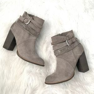 Nine West Zaza Studded Gray Suede Boots